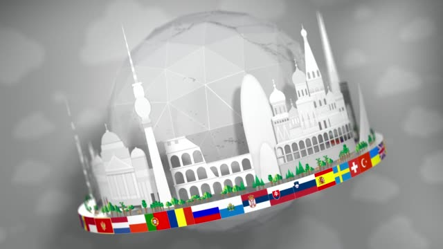 3D Globe of Famous European Landmarks, Paper Cut-Outs, including all European Flags: Seamless Loop