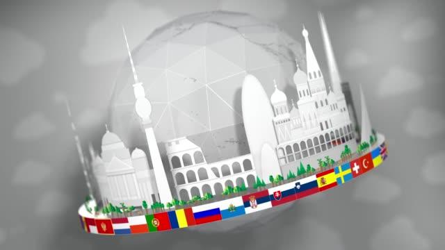 3d globe av kända europeiska landmärken, paper cut-outs, inklusive alla europeiska flaggor: sömlös loop - isakskatedralen bildbanksvideor och videomaterial från bakom kulisserna