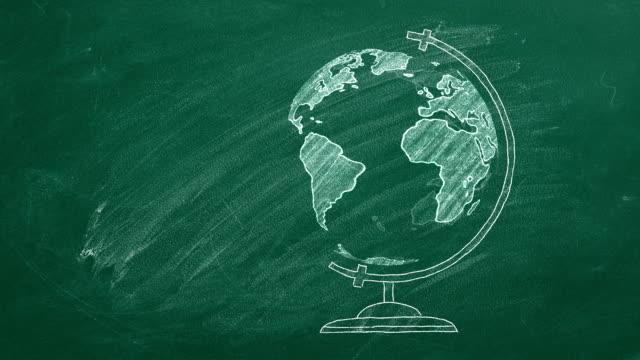 globo su chalckboard - geografia fisica video stock e b–roll