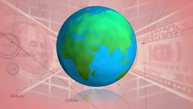 Globe rotating and US dollar