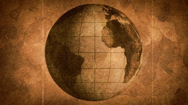 globe sketched on old paper grunge loop background