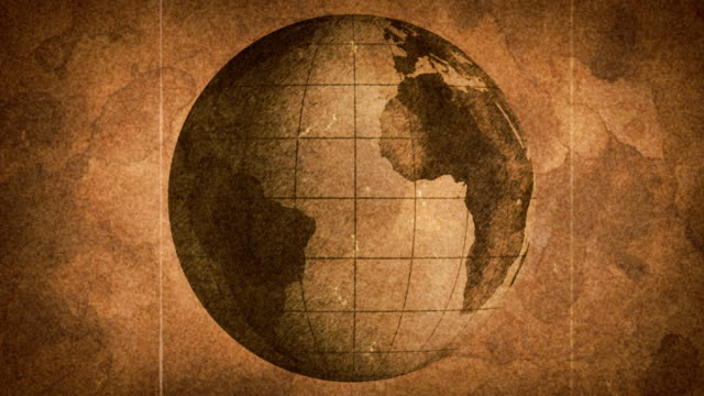 globe sketched on old paper grunge loop background computer generated seamless loop grunge motion background. globe sketched on old paper. vintage film effects: grain, scratches, hair lines and flickering.  sepia toned stock videos & royalty-free footage
