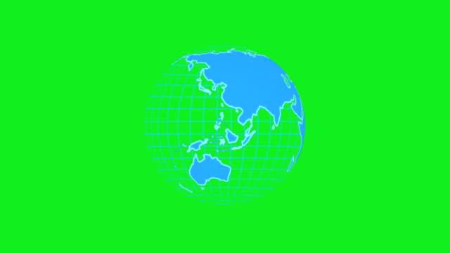vídeos de stock e filmes b-roll de globe technology animation background design - green world