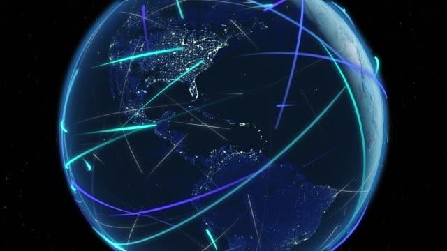 帶連接線社交網路的環球(縮小) 4k - golden ratio 個影片檔及 b 捲影像