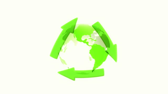 世界中にリサイクル記号(ホワイト)のループ - 透明点の映像素材/bロール