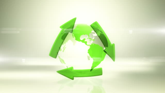 Globe with Recycling Symbol (Centered, Bright Background) - Loop video