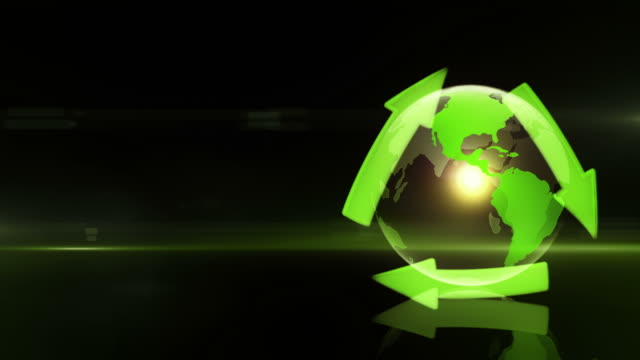 Globe with Recycling Symbol (Right Placed, Dark Background) - Loop video