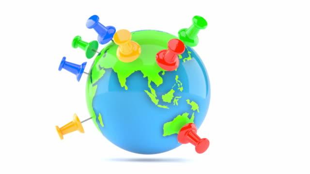 Globe with thumbtacks video