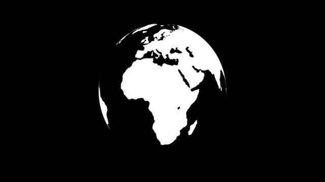グローブ - 世界地図(ループ4k + アルファチャンネル) - くるくる回る点の映像素材/bロール