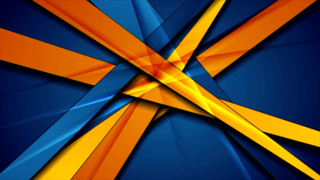 Glossy blue orange abstract stripes corporate motion background