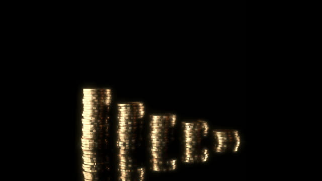 glow gold coin investment bar graph moving stopmotion - guadagnare soldi video stock e b–roll