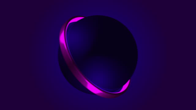 Glow neon ball on dark background.