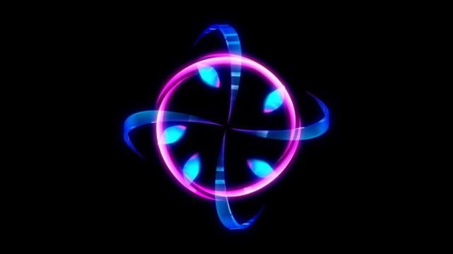 Glowing 3D geometric looping curves UI shape video