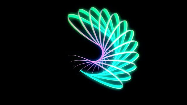 Glowing 3D geometric looping ellipses UI shape video