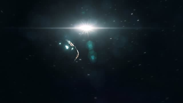 Glowing Alien Asteroid Flying Through Deep Space video