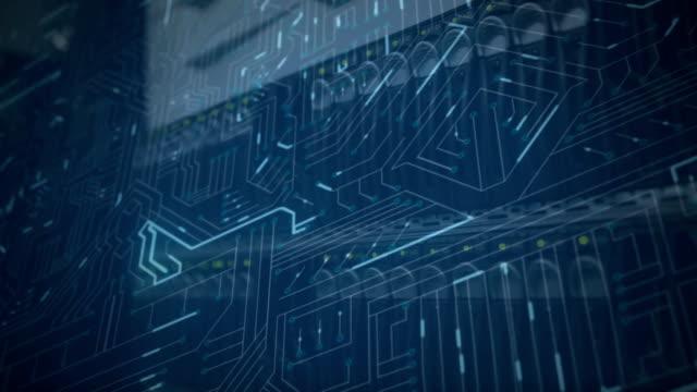 stockvideo's en b-roll-footage met gloeiende blauwe computer circuits en mainframe racks in een serverruimte - datacenter
