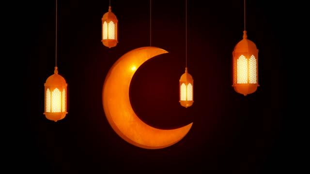 glödande fest lykta och måne hängande från taket på mörk bakgrund. ramadan kareem islamisk rörelse bakgrund. 3d-loopbar animering. - ramadan kareem bildbanksvideor och videomaterial från bakom kulisserna