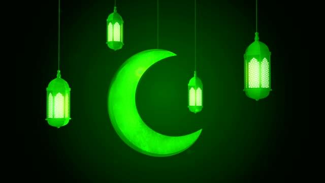 светящийся праздничный фонарь и луна свисаются с потолка на темном фоне. рамадан карим исламского движения фона. 3d цикливная анимация. - фанус стоковые видео и кадры b-roll