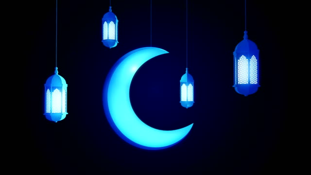 glowing celebration lantern and moon hanging from ceiling on dark background. ramadan kareem islamic motion background. 3d loopable animation. - фанус стоковые видео и кадры b-roll