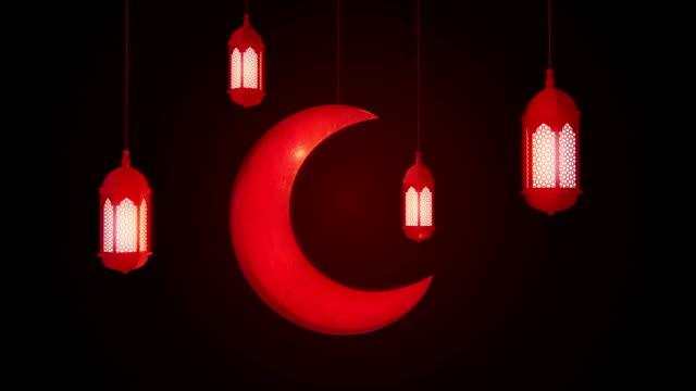 glowing celebration lantern and moon hanging from ceiling on dark background. ramadan kareem islamic motion background. 3d loopable animation. - eid mubarak stock videos and b-roll footage