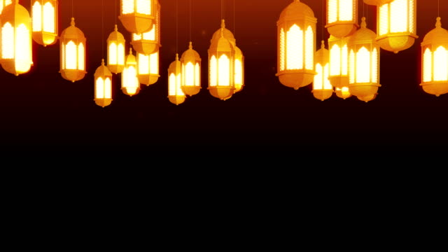 glowing celebration lantern hanging from ceiling on dark background. ramadan kareem islamic motion background. 3d loopable animation. - eid mubarak stock videos and b-roll footage