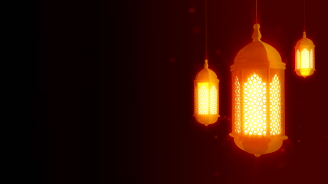 glowing celebration lantern hanging from ceiling on dark background. ramadan kareem islamic motion background. 3d loopable animation. - lanterna attrezzatura per illuminazione video stock e b–roll