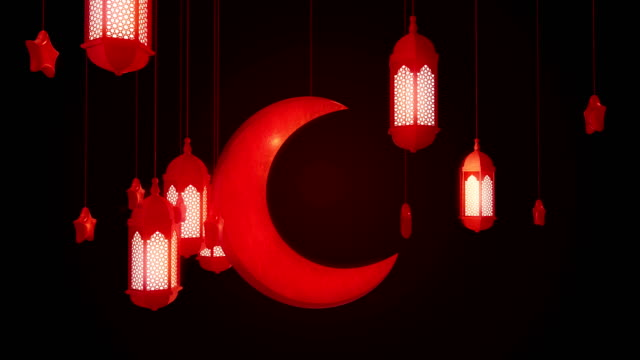 glowing celebration lantern, star and moon hanging from ceiling on dark background. ramadan kareem islamic motion background. 3d loopable animation. - фанус стоковые видео и кадры b-roll