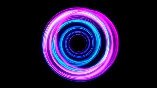 Glowing circular looping 3D geometric UI shape video
