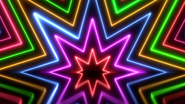 Glowing Colorful Neon Lights - Loopable Retro Style Abstract Backgrounds - Slow Version brightly lit stock videos & royalty-free footage