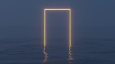 vidéos et rushes de cadre lumineux flottant sur le lac dans la soirée, rendu 3d. - imagination