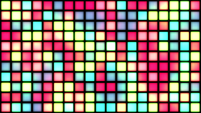 Glowing Grid of Multicoloured Squares | Colours Change with Random Generative Flicker Effect video