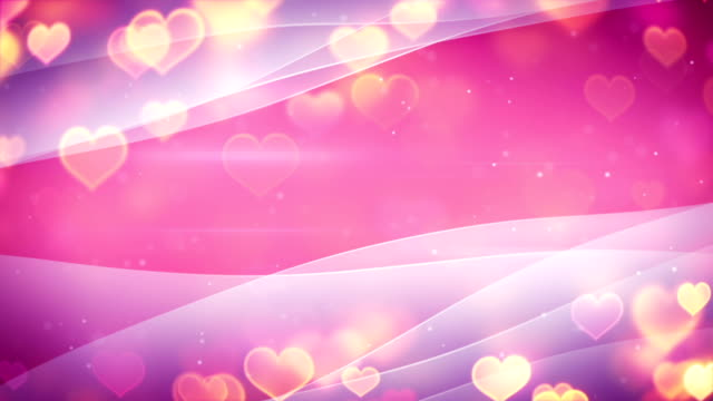 glowing heart shapes and curved lines loopable background video