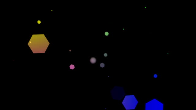 Glowing hexagons, bokeh, cool abstract balls, vibrant background video