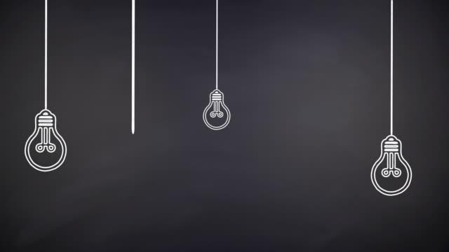Glowing Light Bulb Innovation Concept on Chalkboard