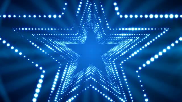 parlayan ışıklar stargate döngü arka plan 4k - yıldız şekli stok videoları ve detay görüntü çekimi