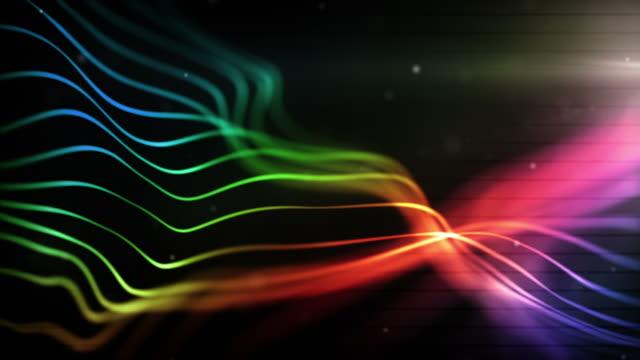 輝くラインループミッドナイトのレインボー(フル hd ) - 線点の映像素材/bロール