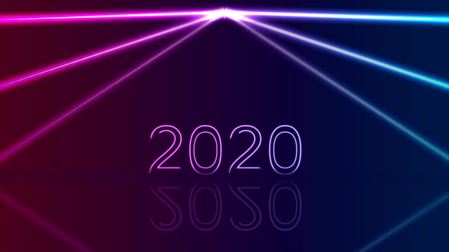 Glowing neon 2020 New Year abstract video animation Glowing neon laser 2020 New Year holiday abstract motion background. Video animation Ultra HD 4K 3840x2160 2020 stock videos & royalty-free footage