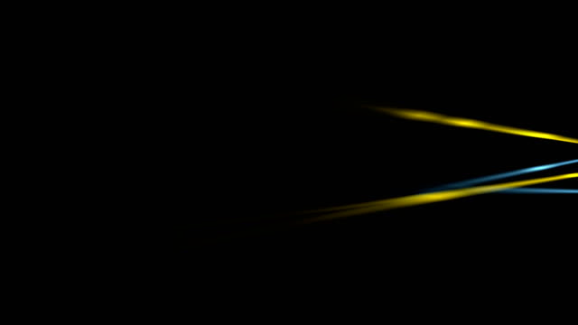 Glowing neon blue yellow smooth stripes video animation video