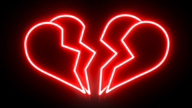 Glowing Neon Breaking Heart video