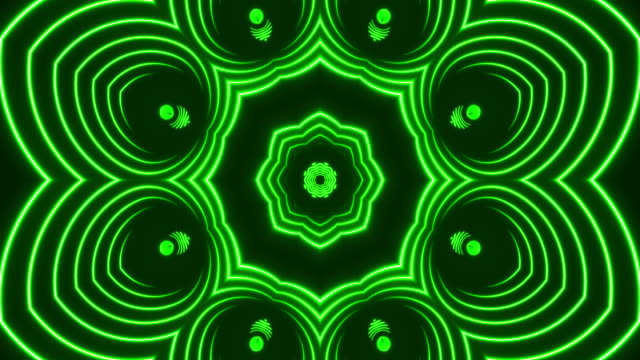 luci caleidoscopio al neon incandescente - loopable - caleidoscopio motivo video stock e b–roll