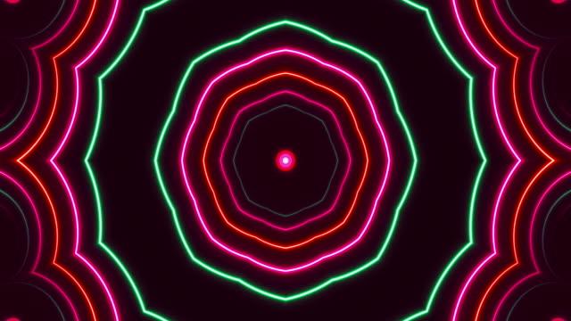 glödande neon kaleidoscope ljus-loopable - dansbana bildbanksvideor och videomaterial från bakom kulisserna