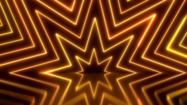 parlak neon ışıkları - loopable - yıldız şekli stok videoları ve detay görüntü çekimi