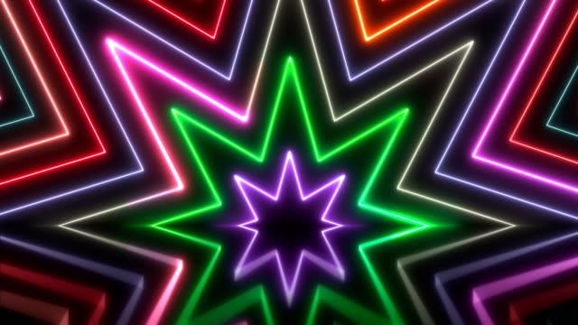 vídeos de stock, filmes e b-roll de luzes de néon brilhante - loopable - dance music