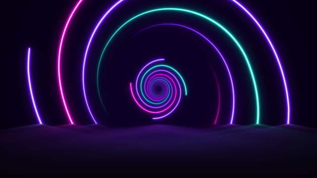 Glowing Neon Lights - Vaporwave Spiral  Backgrounds - Loopable