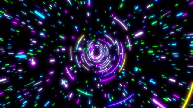 Glowing neon lines tunnel. Blue red pink and violet colorful lighting. Seamless loop 4k background