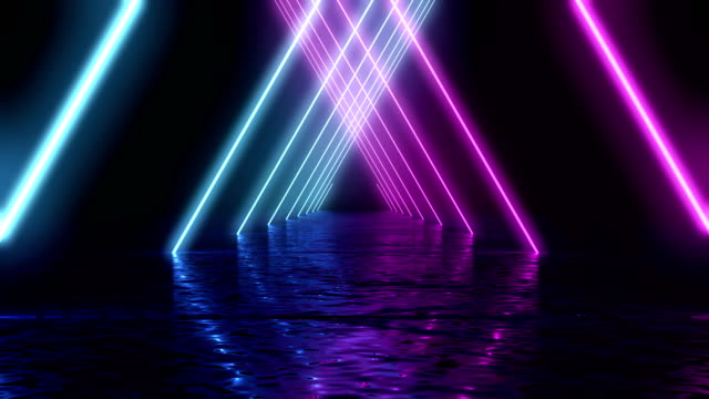 glowing neon tunnel. abstract seamless background.  fluorescent ultraviolet light. - tridimensionale video stock e b–roll
