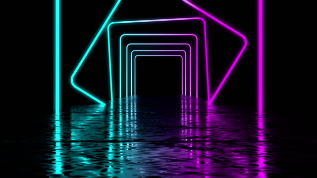Glowing neon tunnel. Abstract seamless background.  Fluorescent ultraviolet light. High quality 3d render animation. Blue pink color illumiantion. laser stock videos & royalty-free footage
