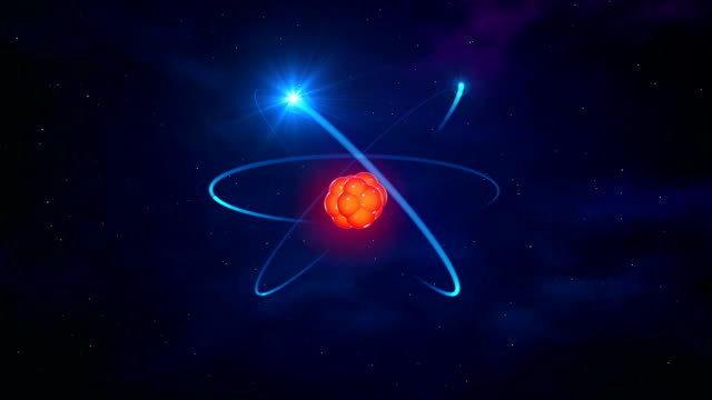Glowing orange atom in space with blue electrons video