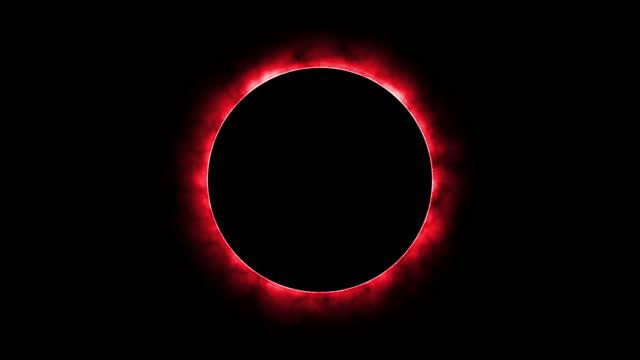 4k glödande röd eld lysande eclipse rotera i flytta runt svart cirkel rörelse grafik. - tema bildbanksvideor och videomaterial från bakom kulisserna