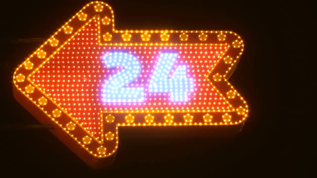 A glowing signboard. It works 24 hours a day video